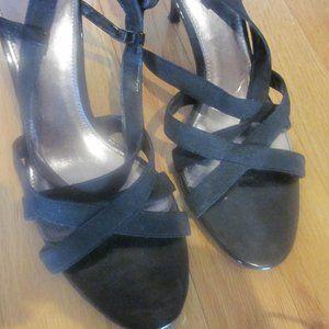 Predictions Black Strappy Sandals, Size 9